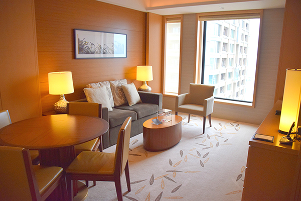 Comfy living space at the luxe Intercontinental Osaka