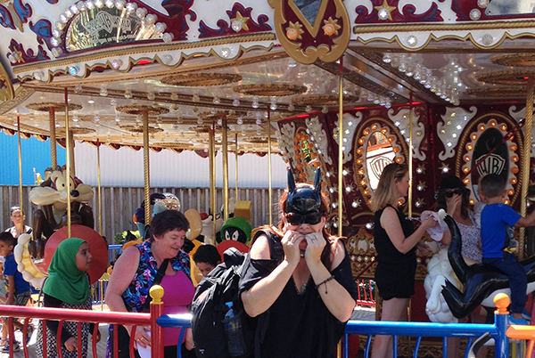 Just about brave enough to hit the carousel at Warner Bros Movie World