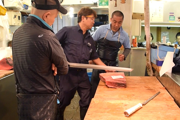 Tuna cutting at Tsukiji