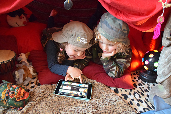 The kids palatial build-a-fort proves the perfect spot for catching up on a little netflix