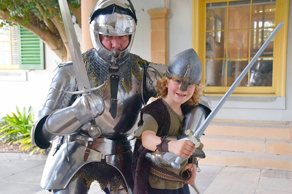 Raffles and Andrew McKinnon do their medieval thing for ST Ives Medieval Faire