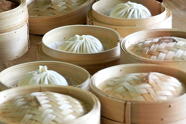 jumbo xiao long bao in steamers at Bistro hulu