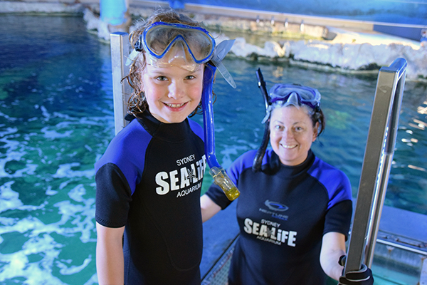 Raff and Deborah of Diveplanit ready to snorkel with the sharks at SEA LIFE Sydney Aquarium