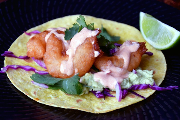 Prawn Tacos with chipotle lime dressing