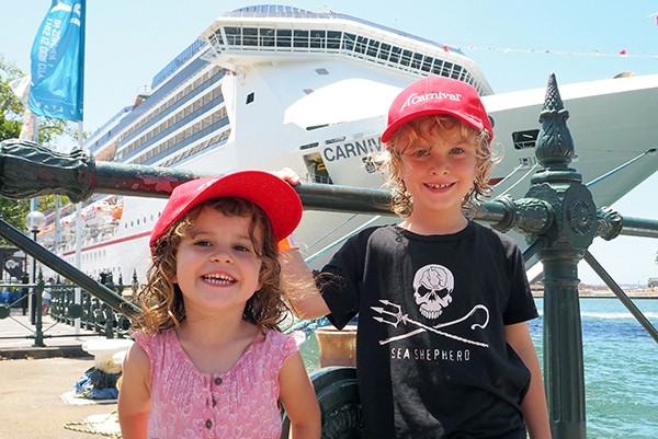 Raffles & SUgarpuff after their play day on Carnival Legend