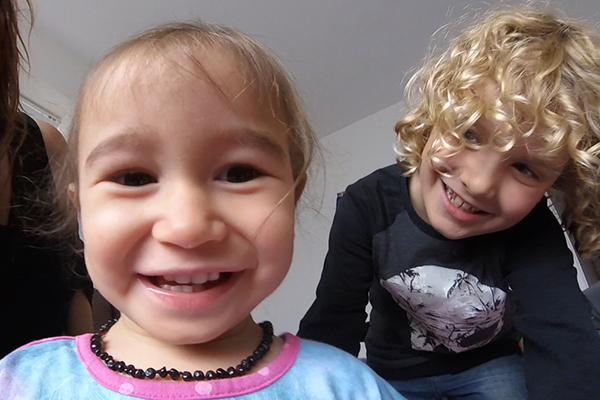 Raffles photobombing a toddler selfie on the GoPro