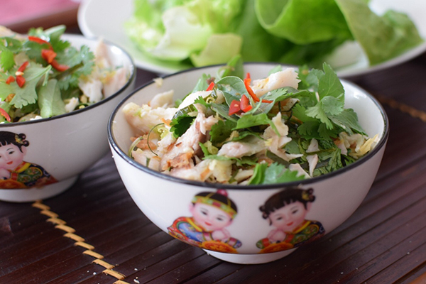 Lemongrass and lime fish salad (larb)