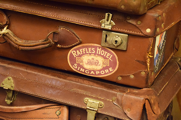 Raffles is particualrly enarmoured with vacy Hall's collection of old luggage
