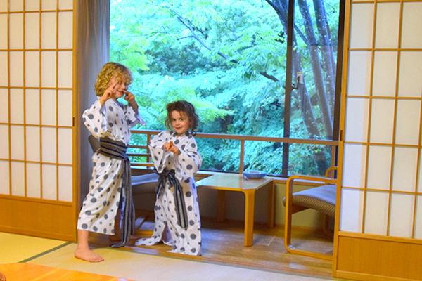 Rocking their yukata in our Arashiyama ryokan