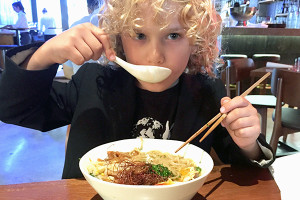 Raffles and his ramen at Salaryman Surry Hills
