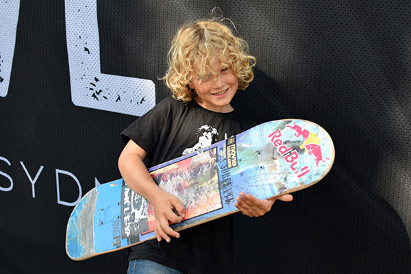 Raffles is just a tad stoked about his new board from Alex Sorgente