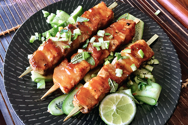 Sweet & Hot Chilli Pork Belly Skewers recipe