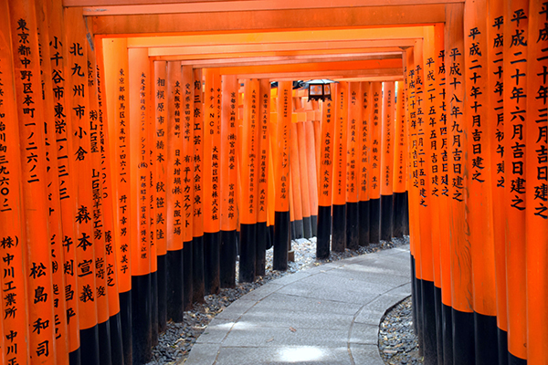 The 10,000 vermillion gate sof Fushimi Inari in Kyoto