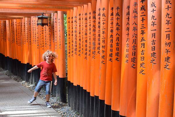 The 10,000 vermillion gate sof Fushimi Inari in Kyoto