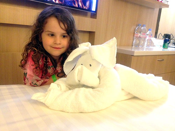 Towel animals in our stateroom. Explorer of the Seas for kids