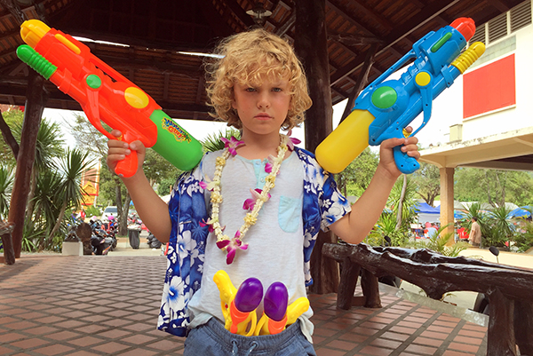 songkran with kids at Wat Chalong Phuket