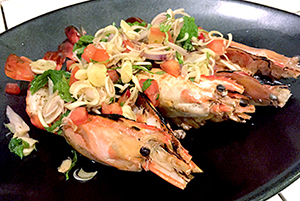 Fresh river prawns with lemongrass salad at Suay Restaurant Phuket