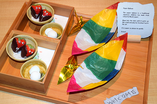 A tray of welcome gifts for the kids at Aman Tokyo