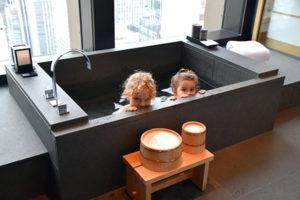 A furo soaking tub at Aman Tokyo