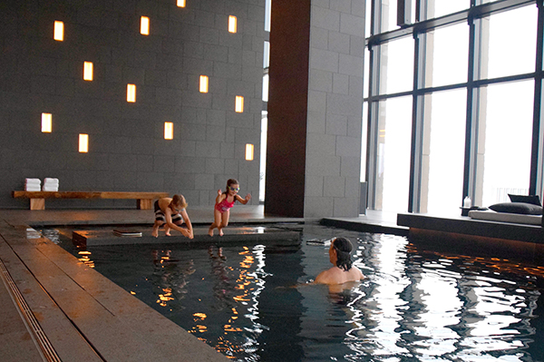 splashing in the pool - Aman Tokyo with kids