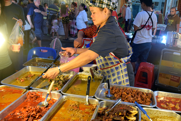 Curry stand at Walking Street Market Phuket Old Town