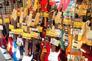 Guitars line the street at Ochanomizu, Guitar Street