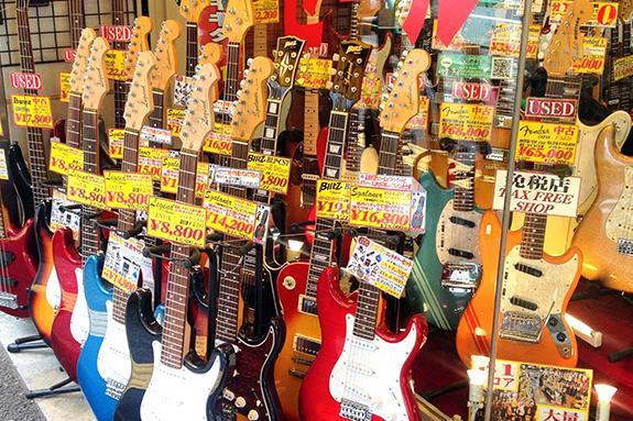 Guitars line the street at Ochanomizu, Guitar Street