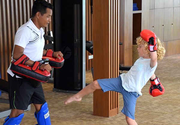Muay Thai lesson at Novotel Phuket Karon Beach Resort and Spa.
