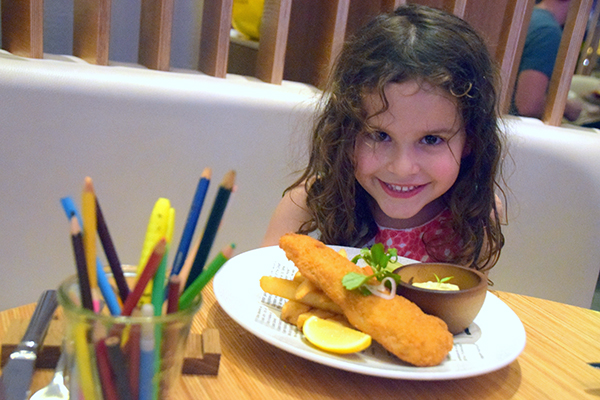 FIsh and chips and colouring in - SUgarpuff is in restaurant heaven at The Ternery
