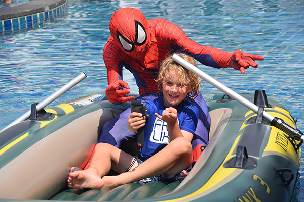 Spidey and Raff in the pool at Novotel Phuket Karon Beach Resort and Spa