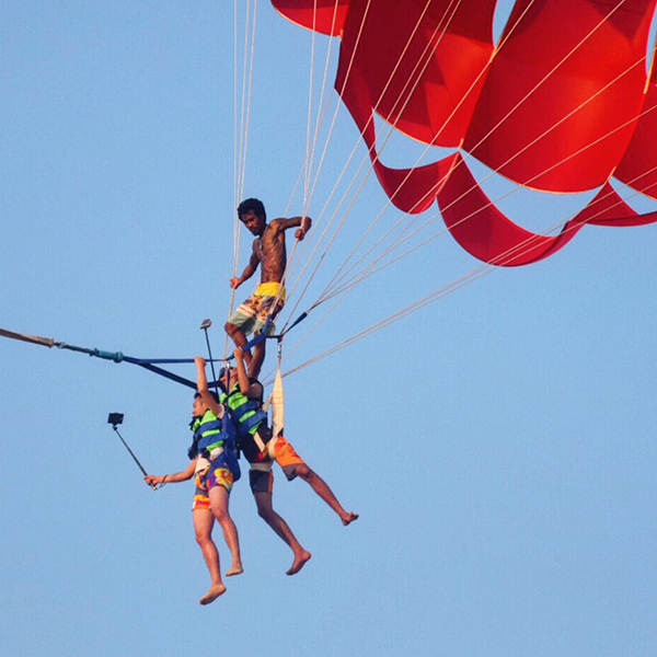Parasailing daredevils at Karon Beach