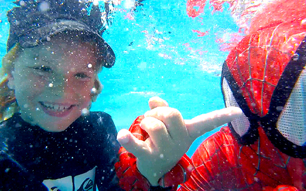 underwater selfies with spiderman at  Novotel Phuket Karon Beach Resort and Spa