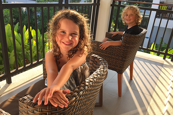 Enjoying the warmth on the balcony of our suite at the Novotel Karon Beach Resort & SPa