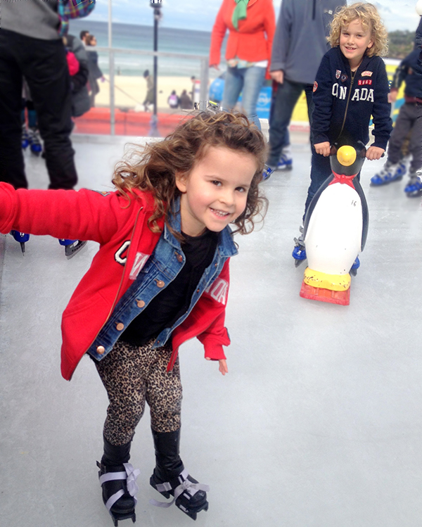 Ice skating on Bondi Beach