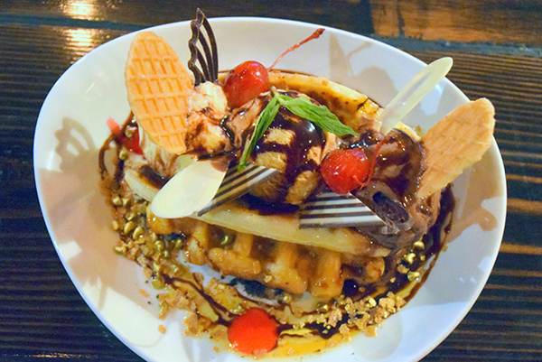 waffle banana split with Belgium chocolate sauce and three scoops of gelato at The Sawmill