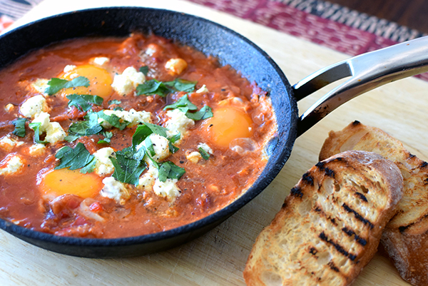 Shakshuka with feta and merguez sausage