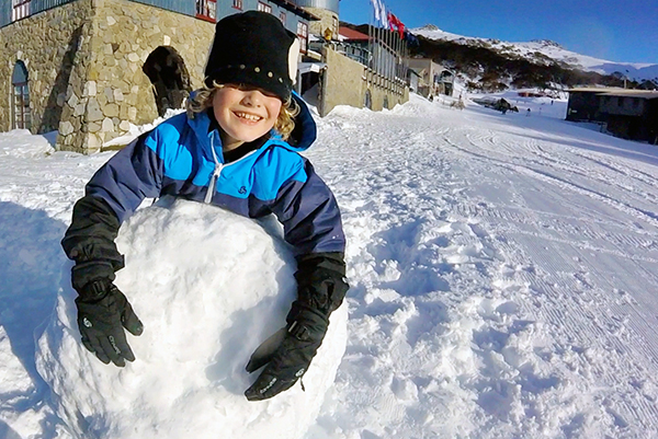 Making snow balls at Charlotte pass Ski resort