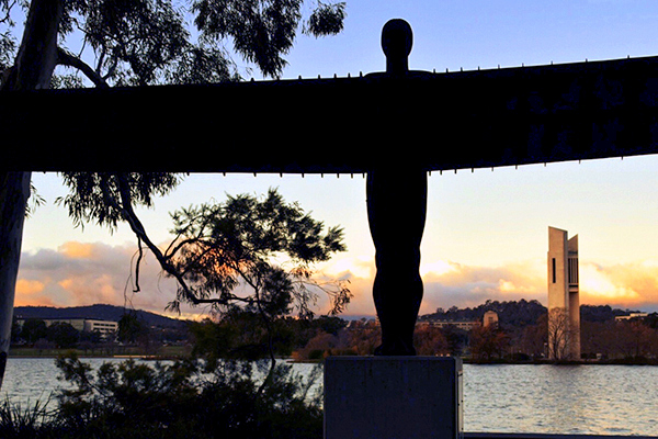 The Angel of the North standing strong and proud on the waterfront of Lake Burley Griffin