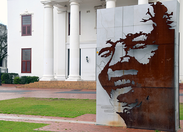 Nelson Mandela art installation on the streets of Stellenbosch