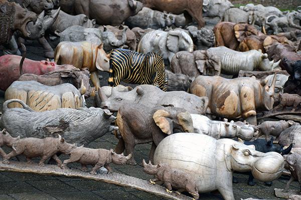 A veritable Noah's Ark of animal carvings line the streets in Stellenbosch