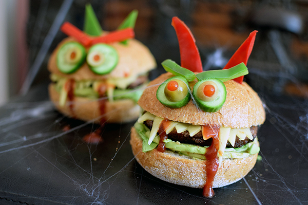 Healthy halloween Monster Burgers