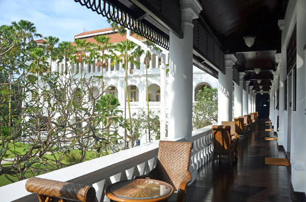 The airy Verandahs at the Raffles Singapore