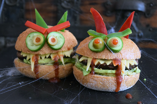 Healthy Monster Burgers for Halloween