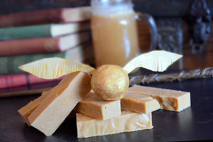 Harry Potter Butterbeer Fudge and edible flying snitch