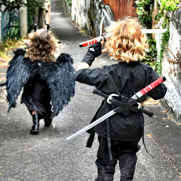 My mini Maleficent and Zombie NInja take to the streets at Halloween