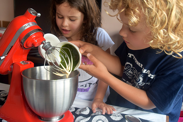 The kids making matcha green tea cake with our KitchenAid Mini #minimoments