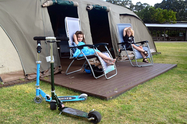 Kicking back in our double glamping tent - Cockatoo Island with kids