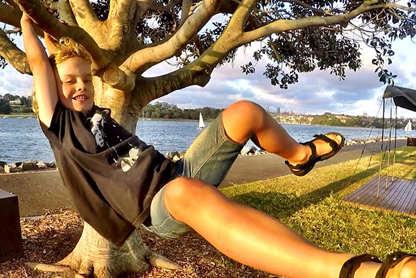 Raffles momkeying around - Cockatoo Island with kids