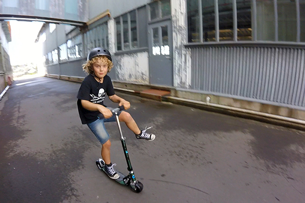 Raffles loves his Micro Rocket scooter with its phat wheels - Cockatoo Island with kids
