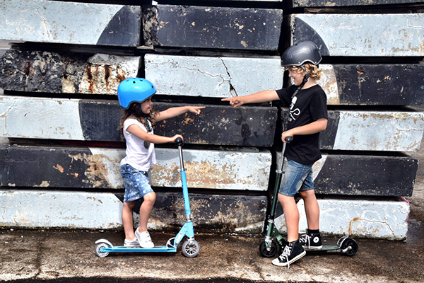The kids love riding their new Micro Scooters - Cockatoo Island with kids